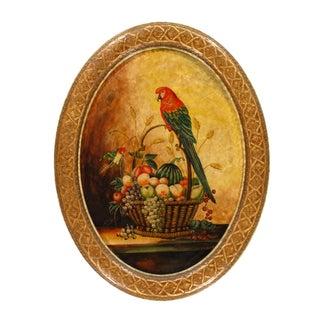 Pasargad N Y Hand Painted Parrot & Fruit Design