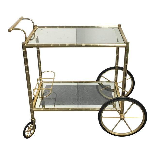 Two Tiered Brass & Glass Bar Cart - Image 1 of 7