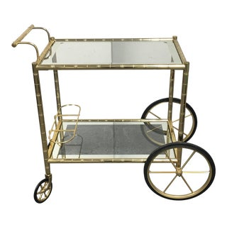Two Tiered Brass & Glass Bar Cart