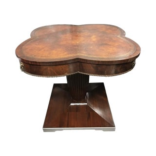 Clover Shape Pedestal Table with Leather Top