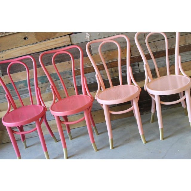 Mid-Century Coral Ombre Bentwood Chairs - Set of 4 - Image 6 of 7