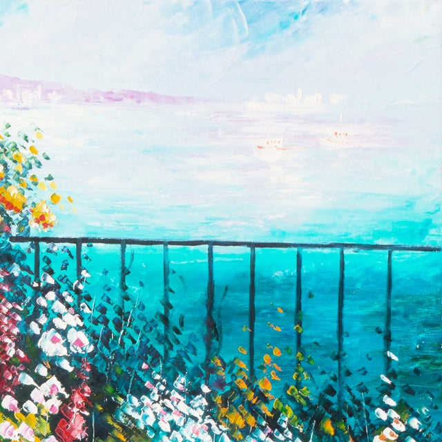 Flower Bed With Bay Overlook Oil Painting - Image 4 of 6