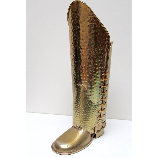 Brass Cowboy Boot Umbrella Stand - Image 3 of 8