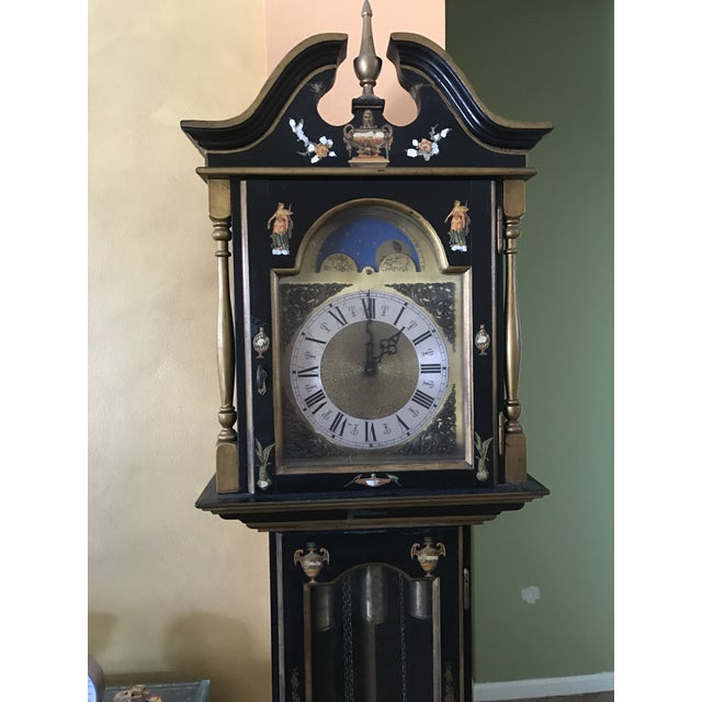Asian Black Grandfather Clock Hand Painted With Pearl Inlay - Image 11 of 11