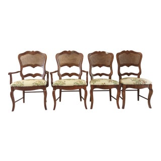 Century French Country Cane Back Dining Chairs- Set of 4