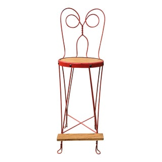 Vintage Red Iron Bar Stool