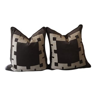Gray Aegean Greek Key Square Velvet & Linen Pillow - A Pair