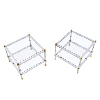 Pair of Glass Chrome Brass Square Mid-Century Modern End Tables