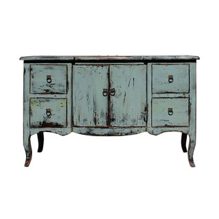 Distressed Gray Blue Credenza Console Side Table Cabinet