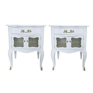 White French-Style Nightstands, Pair