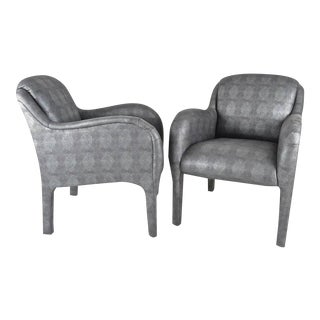 Pair of 1980s Armchairs in Metallic Faux Shagreen