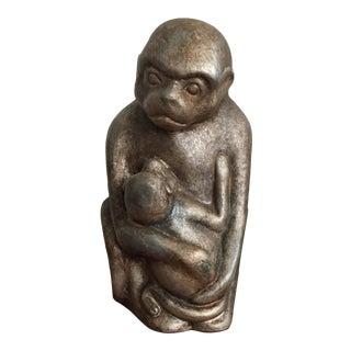 Monkey Holding Baby Figurine