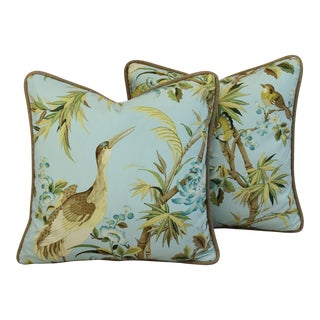 Custom Chinoiserie Exotic Birds Feather/Down Pillows - Pair