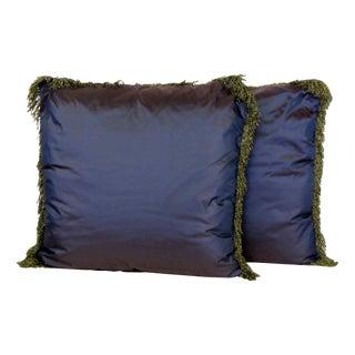 Fringed Purple Taffeta Pillows - A Pair