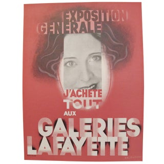 1920s French Art Deco Fashion Poster, Galeries Lafayette