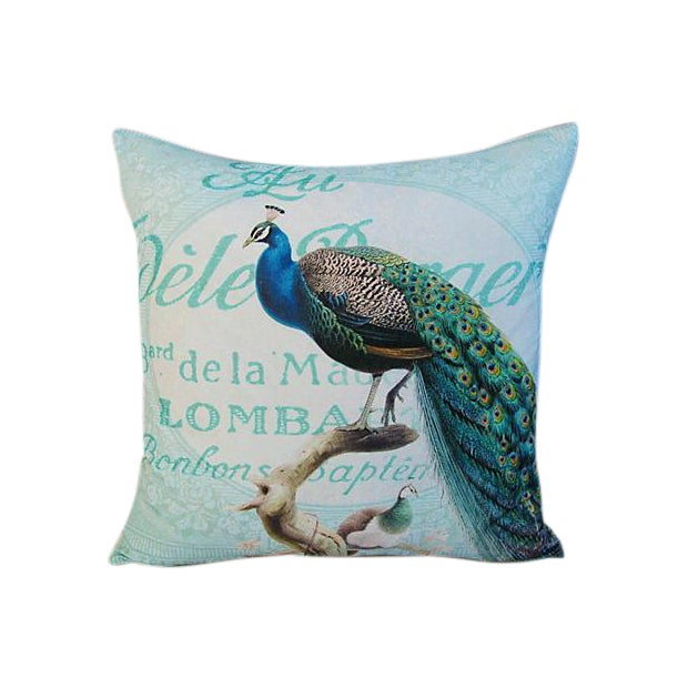 French Script Linen Pillow with Peacock - Image 1 of 7