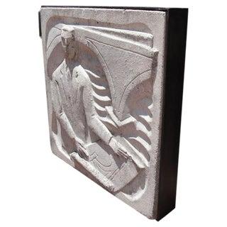 Wall-Mounted Cast Concrete Art Deco Plaque