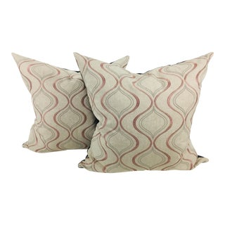 Brocaded Linen Pink & Silver Pillows- a Pair