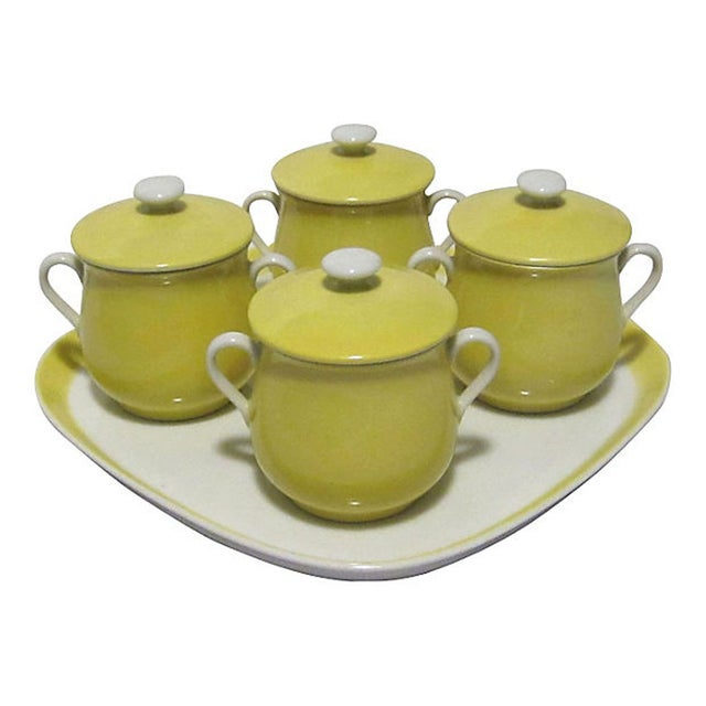 Yellow Fitz & Floyd Pots De Creme With Tray - Image 1 of 7