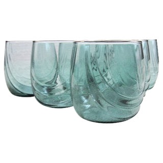 1970s Green Gilded Top Tumbler Glasses - qSet of 6