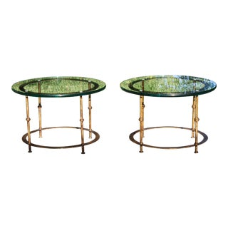 Mid-Century Round Gilt Iron and Glass Coffee Tables / Side Tables - a Pair