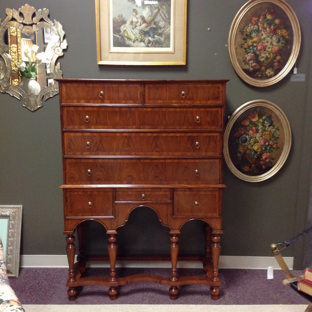 2 Piece Maitland-Smith Walnut Chest on Stand - Image 2 of 6