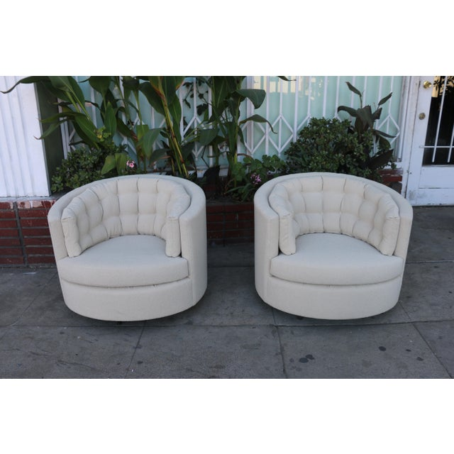 Milo Baughman Style Swivel Chairs - A Pair - Image 2 of 10