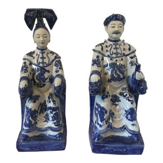 Vintage Chinoiserie Blue & White King & Queen Figurines - a Pair