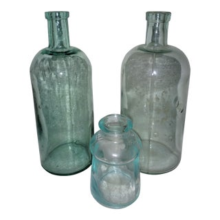 Antique Blue Bottle Collection - Set of 3