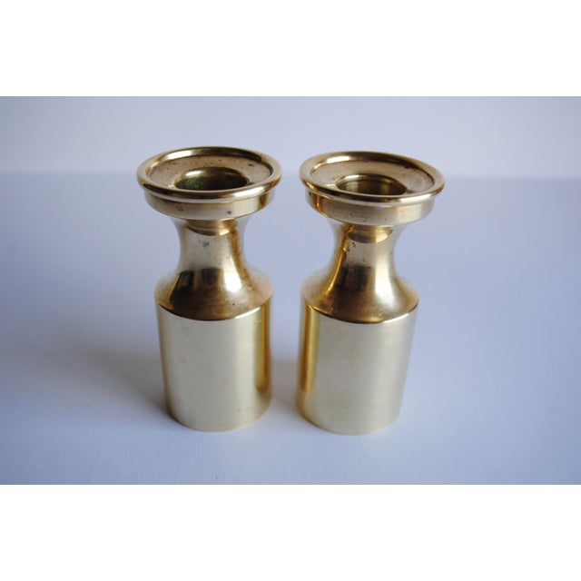 Image of Mid Century Brass Candle Holders - a Pair