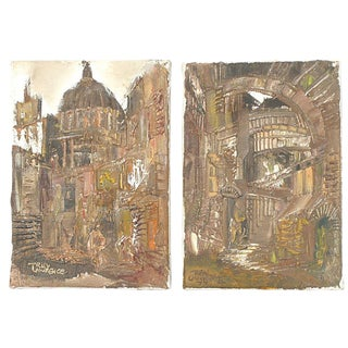 Italian Architectural Paintings by T. Lawrence - a Pair