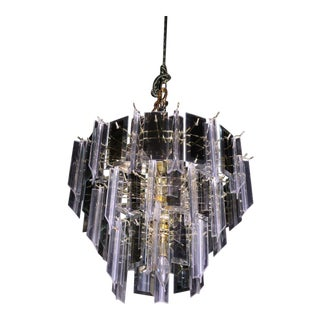 Modern Smoked Glass Mirror Lucite Chandelier Hanging Light Fixture Lamp Shade