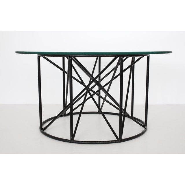 Black Steel Spokes Sculptural Glass Coffee Table - Image 4 of 9