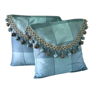 Pompom Trimmed Satin Silk Throw Pillows- A Pair