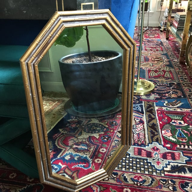 Vintage Faux Bamboo Octagonal Mirror - Image 4 of 5