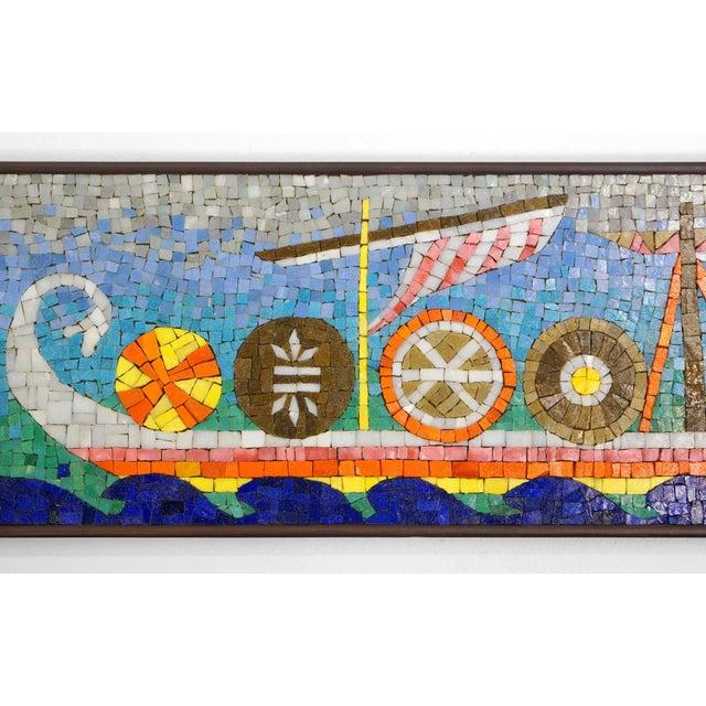 Rare Evelyn Ackerman Mosaic Tile Wall Hanging, Grecian Long Boat Scene - Image 3 of 8