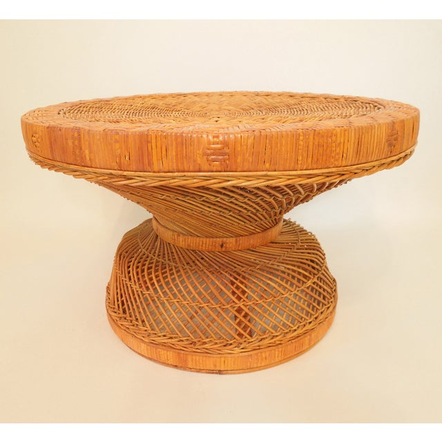 1970s French Woven Reed Rattan Coffee Table - Image 2 of 9