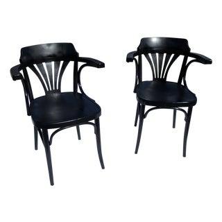 Mid Century Black Chairs - Pair