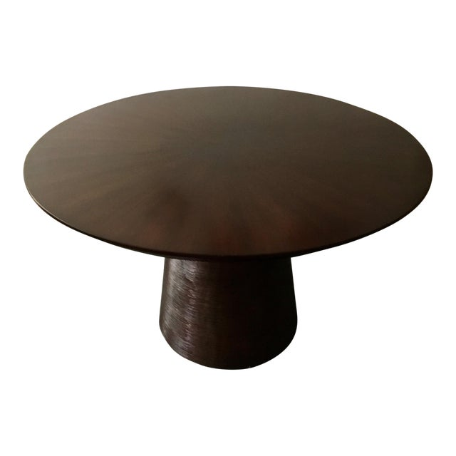 contemporary round dark wood dining table chairish