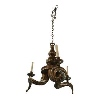 Chapman Vintage Brass Ram Horn Chandelier