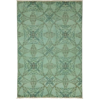 """Vibrance, Hand Knotted Contemporary Green Wool Area Rug - 4' 2"""" X 6' 1"""""""