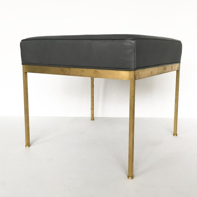 Lawson-Fenning Square Brass and Black Leather Ottomans - a Pair - Image 4 of 8