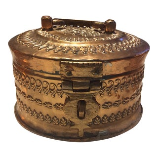 Antique Tinned Copper Repousse Box