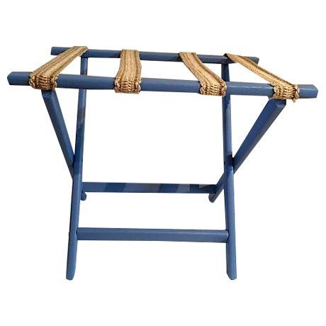 Sky Blue & Sisal Luggage Rack - Image 1 of 4