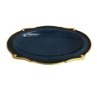 Gold Trim Navy Blue Tray