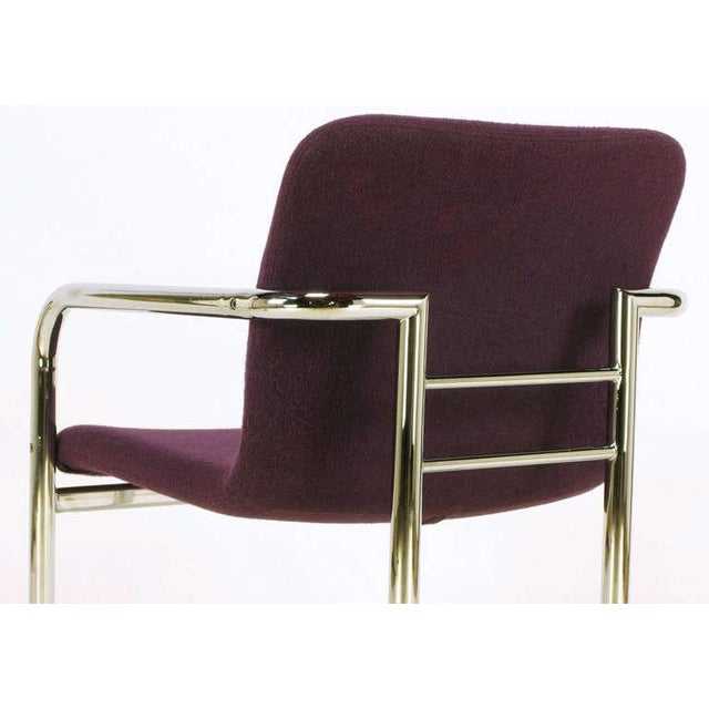 Pair Chrome & Violet Wool Sled Arm Chairs - Image 9 of 9
