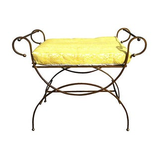 1960's Vintage Scrolled Gilt Metal Bench