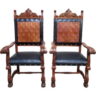 Spanish Antique Leather Throne Chairs - A Pair