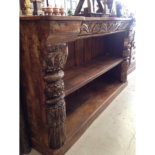 Hand Carved Bookshelf ~ Vintage hand carved wooden pillar bookcase chairish