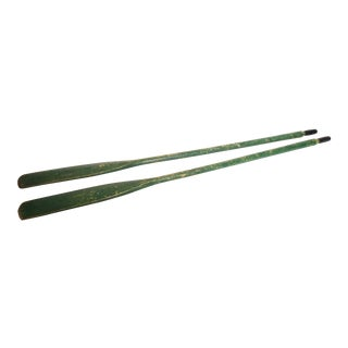 Vintage Green Weathered Wood Boat Oars - A Pair